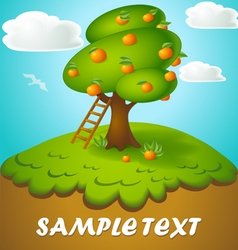 Cartoon of a tree with apples in a fun style drawn vector