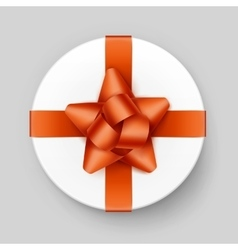White gift box with orange bow and ribbon top view vector