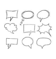 Freehand drawing bubble speech items vector