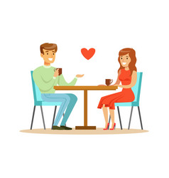 Young happy couple in love sitting in cafe vector