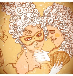 Cute background in cartoon style a pair of lovers vector