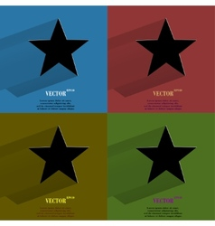Color set star flat modern web button with long vector