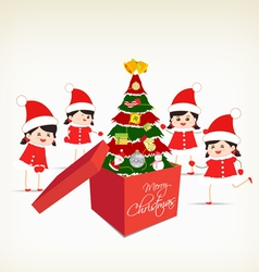 Christmas tree gift boxes and kids greeting card vector