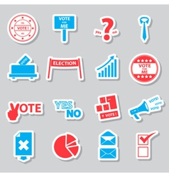 Election and vote color simple stickers set eps10 vector