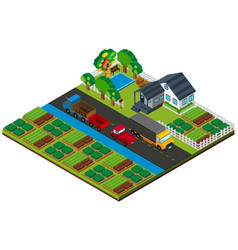 3d design for farmland with house and cars on the vector