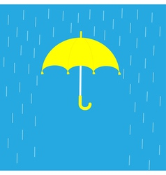 Blue umbrella and rain lines template flat design vector