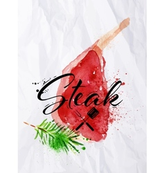 Bone in rib steak watercolor vector