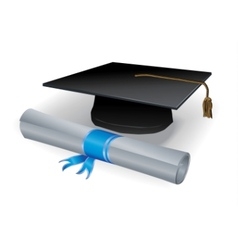 Graduation mortar and diploma vector