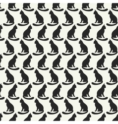 Animal seamless pattern of cat silhouettes vector