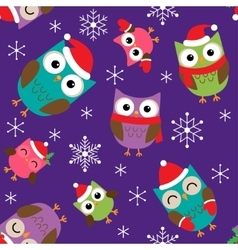 Christmas pattern with owls vector image