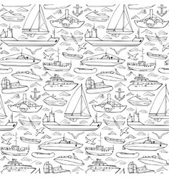 Sea transportation doodle seamless pattern vector