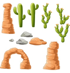 Cartoon beautiful cactus on desert background vector
