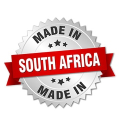 Made in south africa silver badge with red ribbon vector