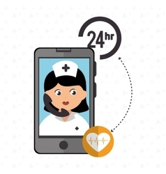 Nurse 24-hour health cardiology isolated icon vector