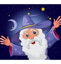 A happy old wizard vector image vector image