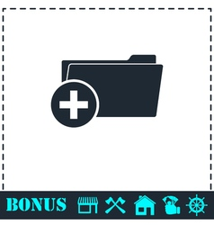 Add folder icon flat vector