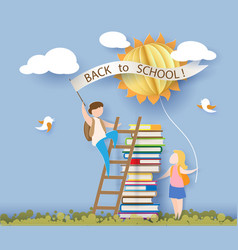 back to school card with kids books and sun vector image vector image