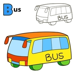 Bus Coloring book page vector image vector image