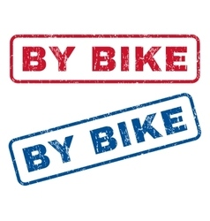 By bike rubber stamps vector
