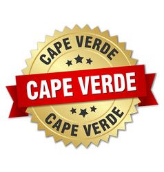 Cape verde round golden badge with red ribbon vector