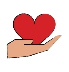 Cartoon hand holds heart love vector