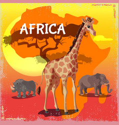 Cartoon wild african animals concept vector