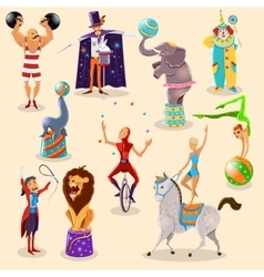 Circus vintage pictograms set arrangement vector image