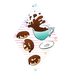 coffee and donuts concept hand drawn vector image vector image