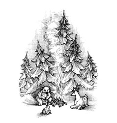 cute christmas card sketch forest animals vector image