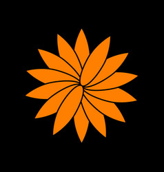 flower sign orange icon on black background old vector image vector image