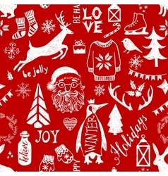 Hand drawn christmas seamless pattern vector