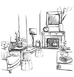 hand drawn room interior sketch chair sofa vector image