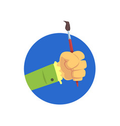 hand holding paintbrush symbol of the profession vector image