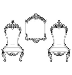 Imperial baroque chair and mirror frame luxurious vector