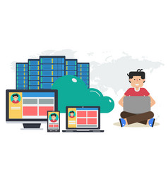 Long banner - reliable cloud storage vector