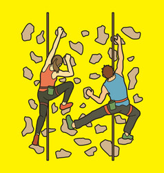 man and woman climbing on the wall together vector image vector image