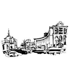 Marker drawing of khreshchatyk the main street of vector