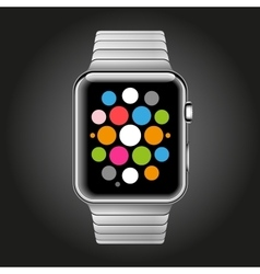 Modern shiny smart watch with steel bracelet vector