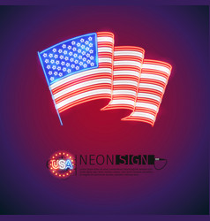 Neon sign wavy usa flag vector