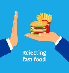 rejecting the offered fast food vector image vector image