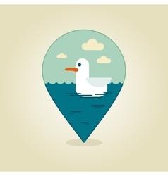 Seagull pin map icon summer beach sun sea vector