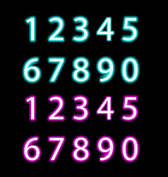 set of neon numbers isolated vector image vector image