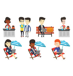 Set of sport and business characters vector