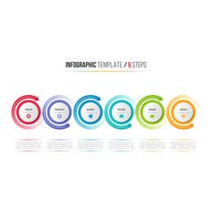 Six steps infographic process chart with circular vector