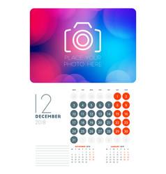Wall calendar planner template for december 2018 vector