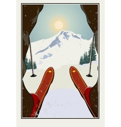 Vintage  Skier getting ready vector image