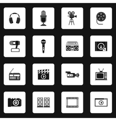 Multimedia equipment icons set simple style vector