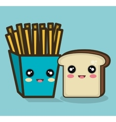 Fries and bread cartoon food design isolated vector