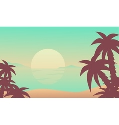 Silhouette of beach at the sunrise vector