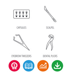 Scalpel capsules and dental pliers icons vector